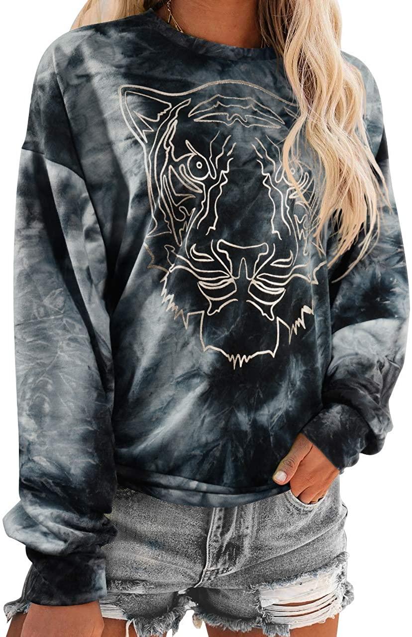 OMKAGI Women Long Sleeve Sweatshirts Tiger Print Round Neck Loose Fit Tops Shirt