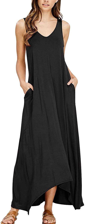 Kidsform Women's Boho Maxi Dress Sleeveless Summer Floral Solid Spaghetti Strap Casual Loose Beach Dress