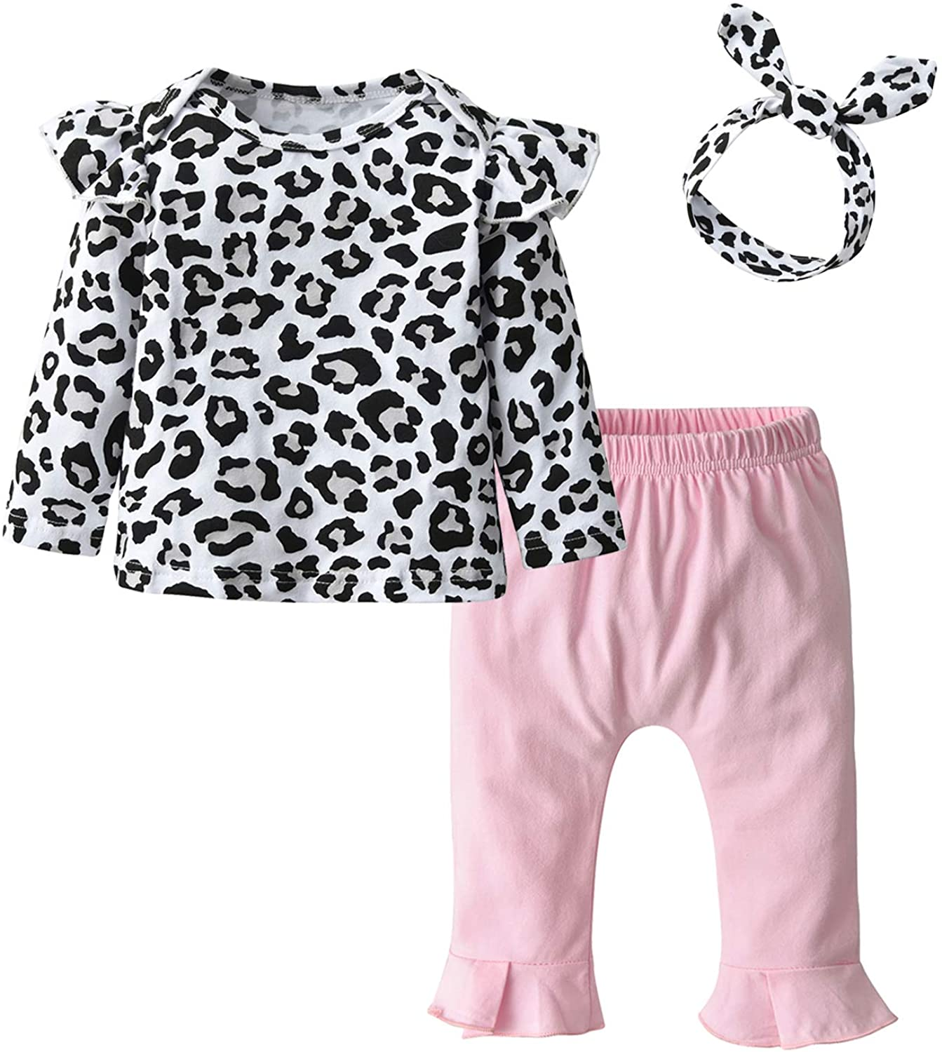 Pig Song Baby Girl Long Sleeve Leopard T-Shirt Tops Pink Pants Headband Outfits Set (6-9 Months)