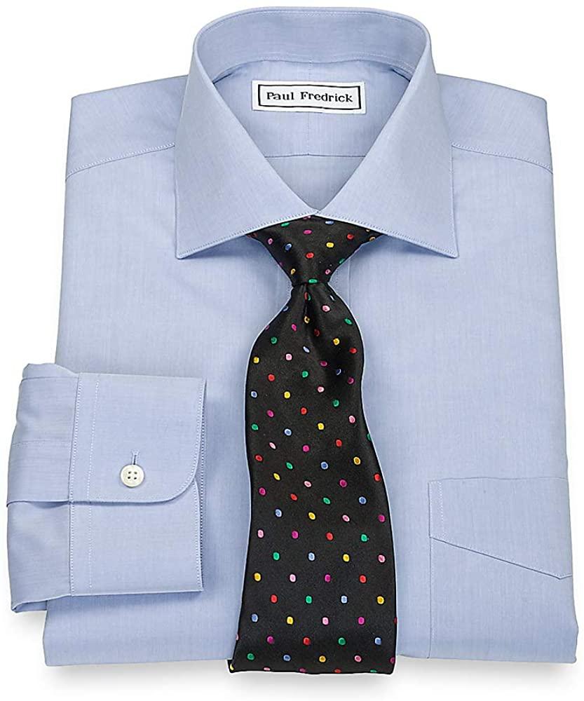 Paul Fredrick Men's Slim Fit Non-Iron Cotton Spread Collar Dress Shirt