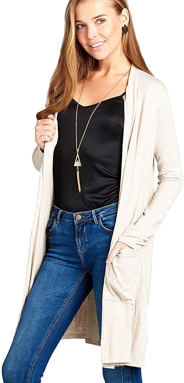 Khanomak Women's Long Sleeve Open Front Long Length Light Weight Cardigan