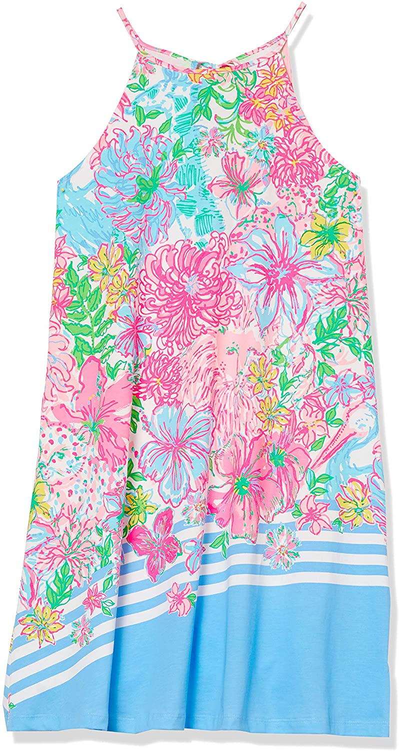 Lilly Pulitzer Womens 24 1/2 Sleeveless Swing Dress with Halter Neckline and Tassels at Back Neck Tie