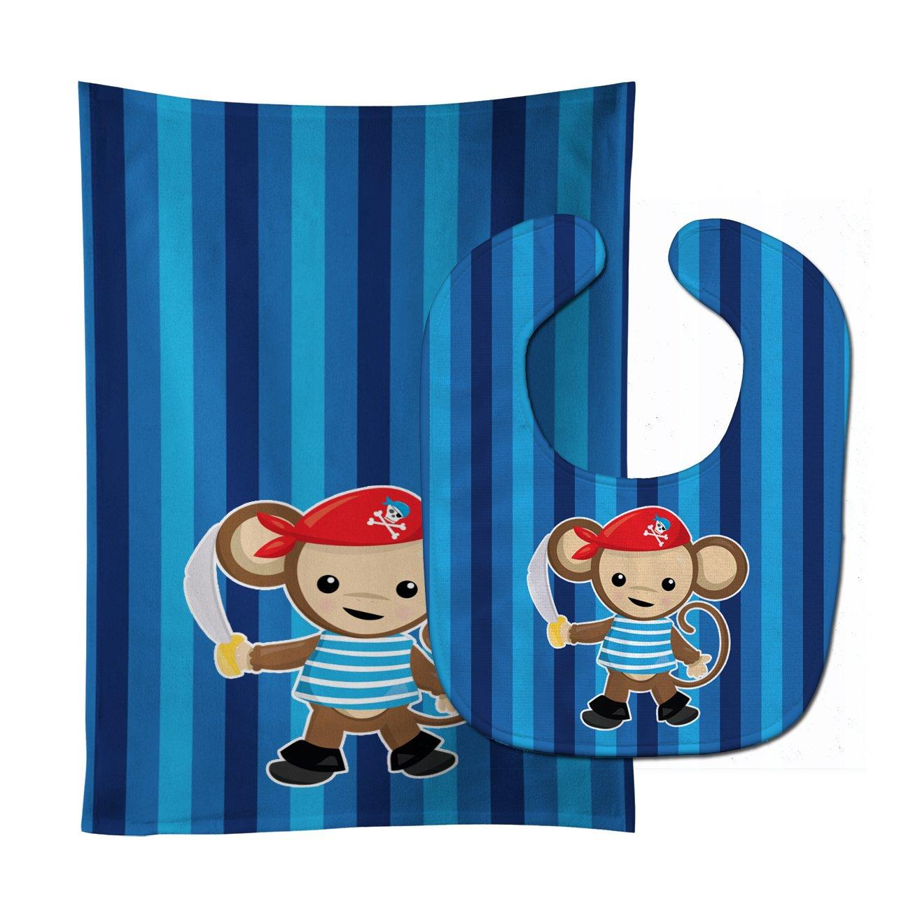 Caroline's Treasures BB8977STBU Pirate Monkey Blue #2 Baby Bib & Burp Cloth, 11 x 18