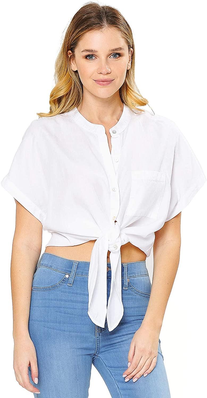 Love Stitch Women's Collarless White Button Down Knot Shirt