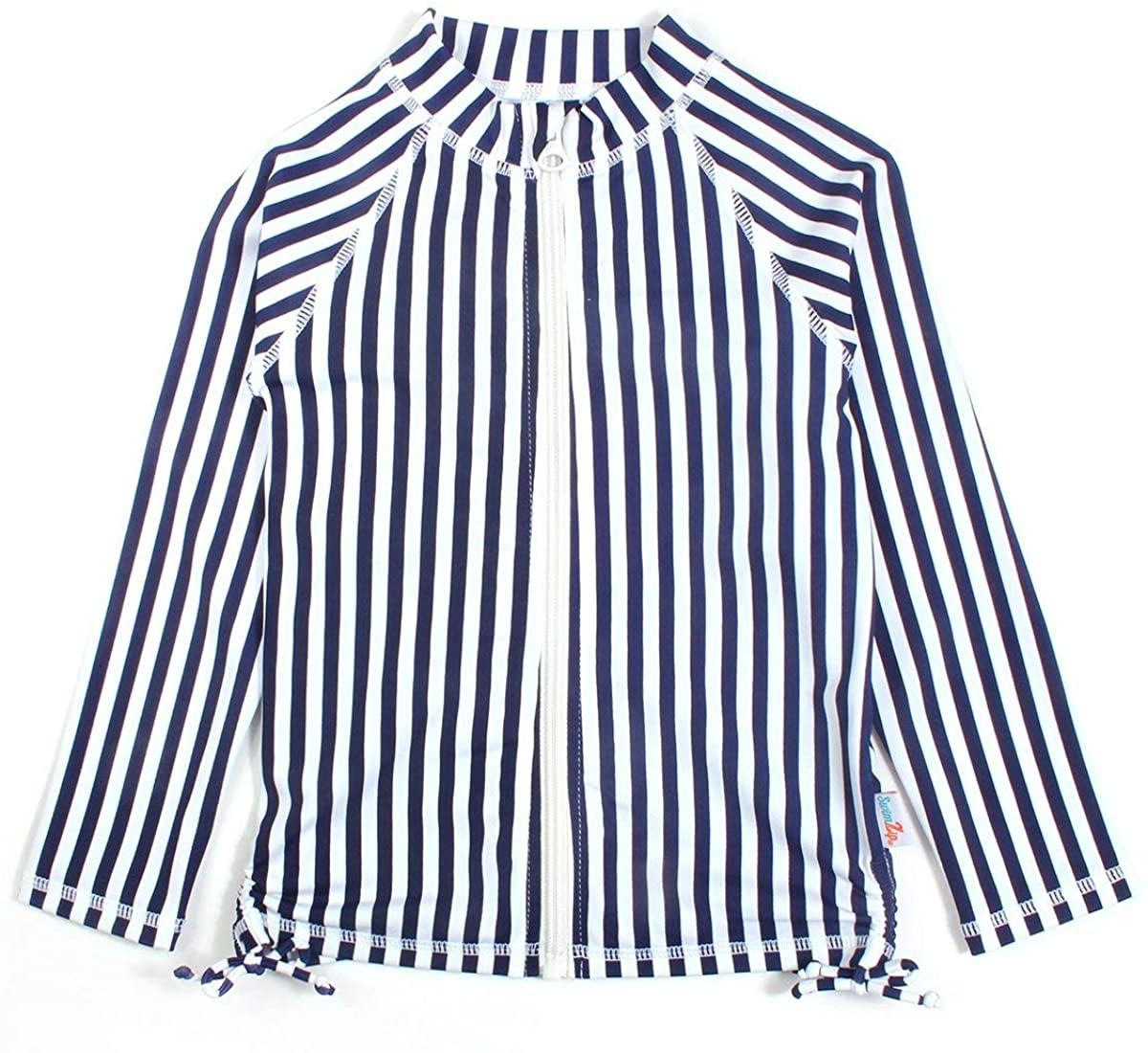 SwimZip Girls' Long Sleeve Rash Guard Swim Shirt UPF 50+ Navy Stripe 6-12 Month