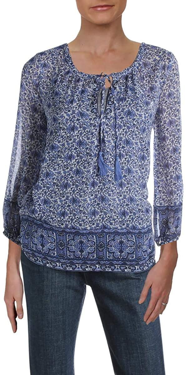 Joie Womens Auberon Silk Floral Peasant Top