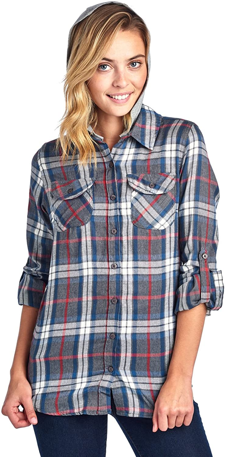 Blue Age Womens Flannel Plaid Shirts Blouse with Hoodie