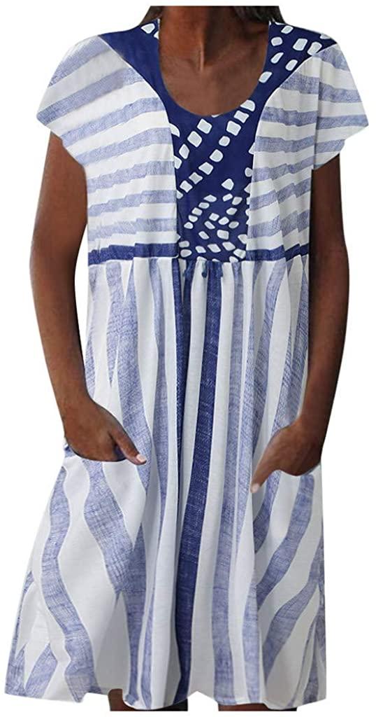 GDJGTA Women Pocket Dress Vintage Boho Stripe Patchwork Casual Summer Crew Neck Short Sleeve Midi Dresses Plus Size