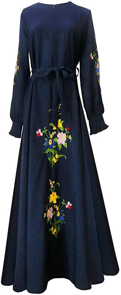 Pervobs Womens Flowy Maxi Dress Summer Embroidered Slim Fit Muslim Middle Eastern Dress Arab Robe Tunic