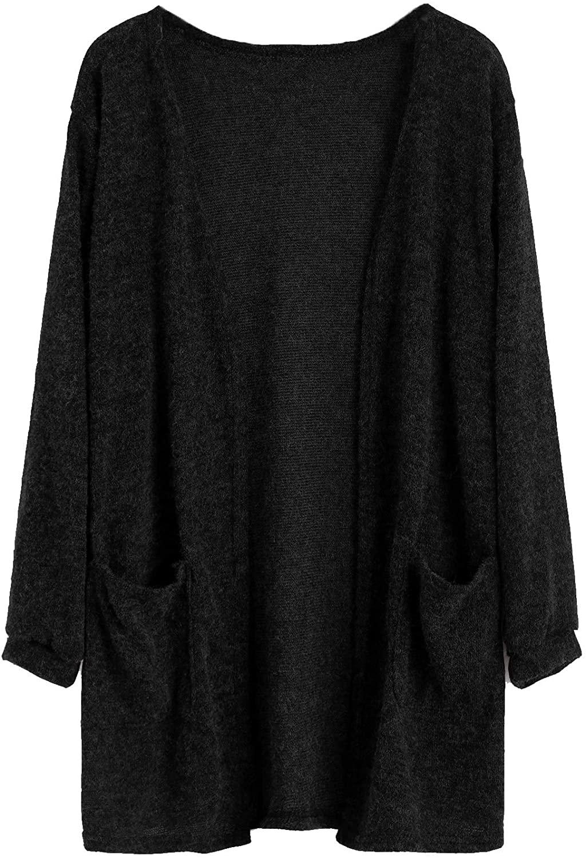 SweatyRocks Women Plain Cardigan Lightweight Long Sleeve Fuzzy Knit Sweater with Pockets