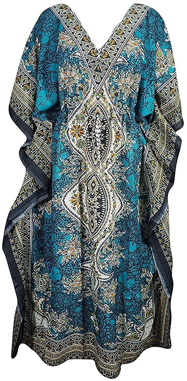 Women's Long Kaftan Dress Maxi Caftan Dress Gown Top Night Dress Teal Blue