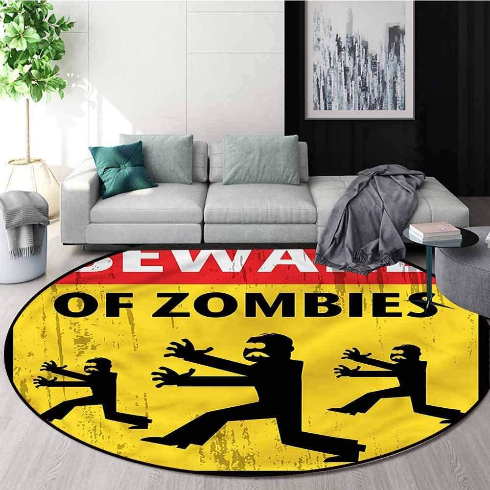 RUGSMAT Zombie Round Area Rug Carpet,Fiction Humor Art Non-Skid Bath Mat Living Room/Bedroom Carpet Diameter-31