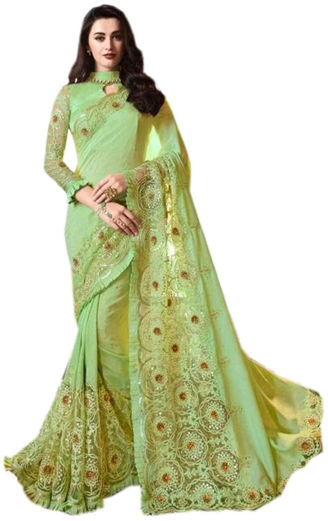 Green Classy Silk Applique Border Rich Look Designer Saree Indian Women Party Sari Blouse Muslim Festival 9727