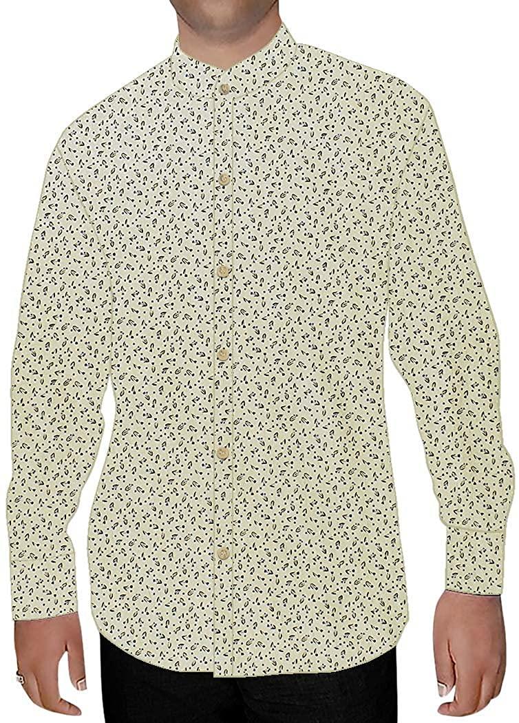 INMONARCH Mens Ivory Printed Nehru Collar Shirt Summer NSH15976CUSTOM-MADE Custommade Ivory