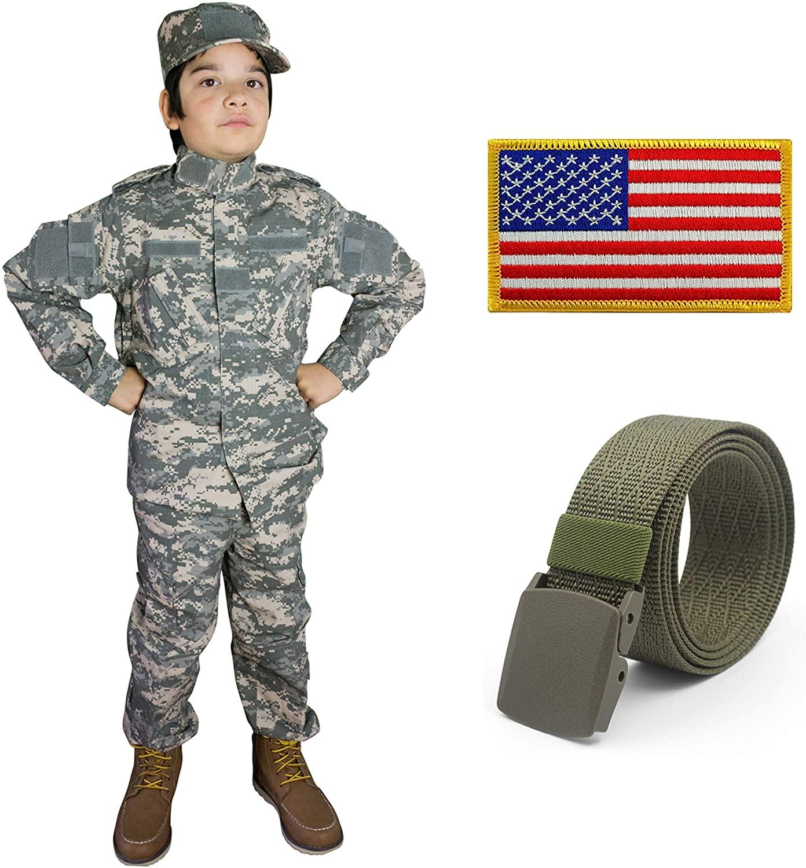 Kids Military Realistic Uniform Army Costume Camo Tactical Suit - Cap, Jacket, Pants, Belt, Patch Set - Boys (8-10, ACU)
