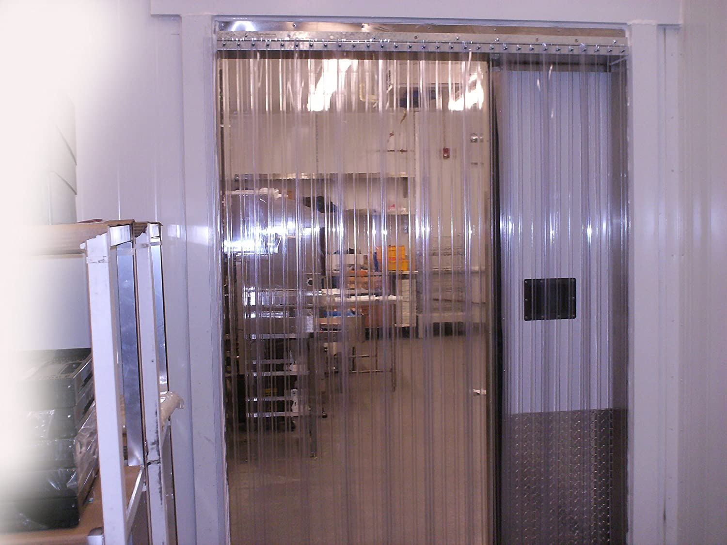 Strip-Curtains.com: Strip Door Curtain - 48 in. (4 ft) width X 84 in. (7 ft) height - Ribbed Anti Scratch Low Temp 8 in. strips with 50% overlap - common door kit (Hardware included)