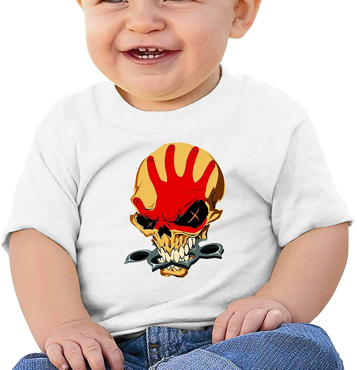 6-24 Months Boy and Girl Baby Short Sleeve T-Shirt Five Finger Death Punch Original Minimalist Style White