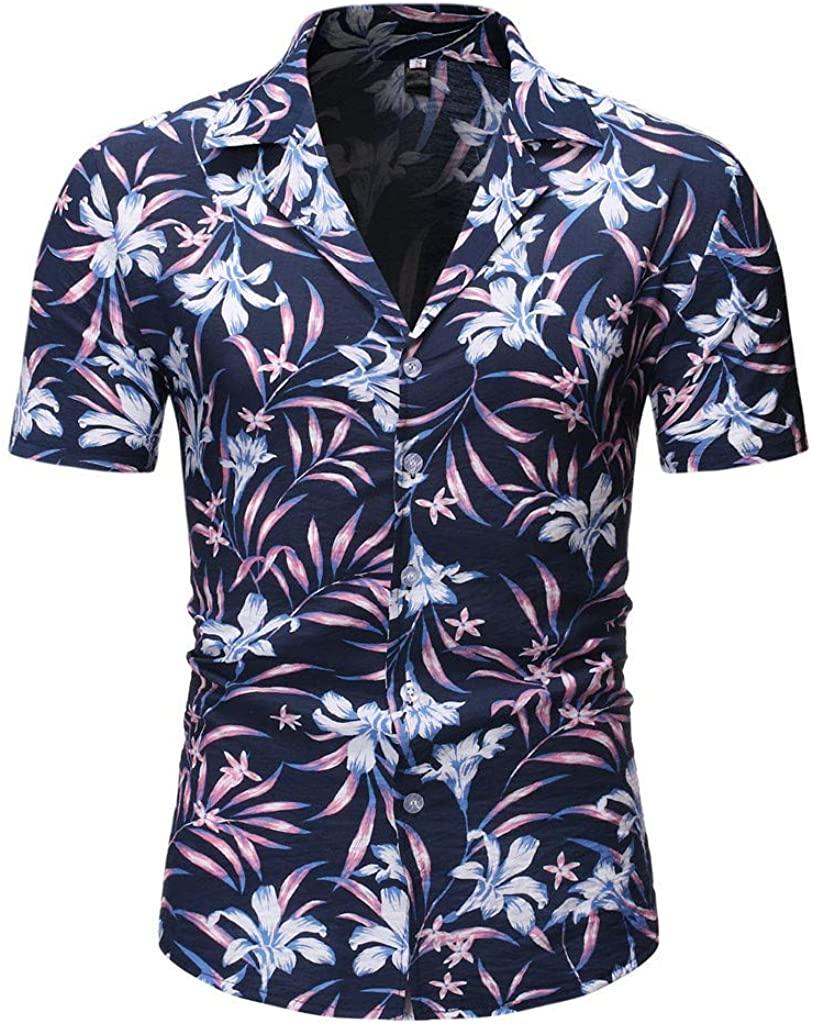 Men's Hawaiian Shirt Short Sleeve Stretch Regular Fit Beach Aloha Shirts