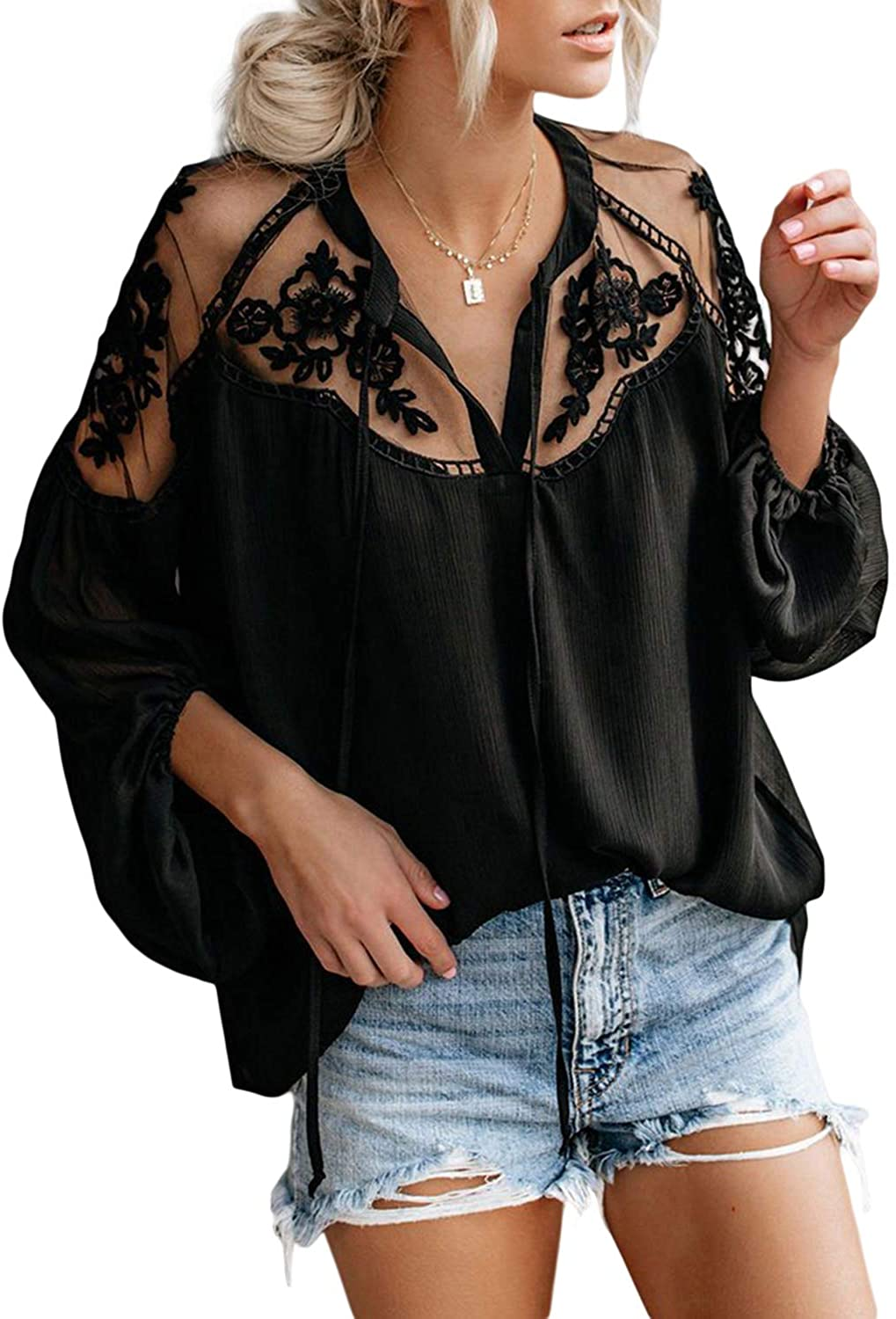 Biucly Womens Casual Solid V Neck Lace Crochet Button Down Bell Sleeve Shirts Tops Loose Blouses(S-XXL)