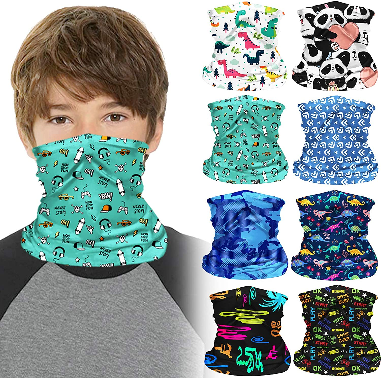 8 Pieces Kids Neck Gaiter Kids Bandanas Face Cover Multifunctional Kids Face Bandana Shield Scarf for Boys and Girls Sport Outdoor