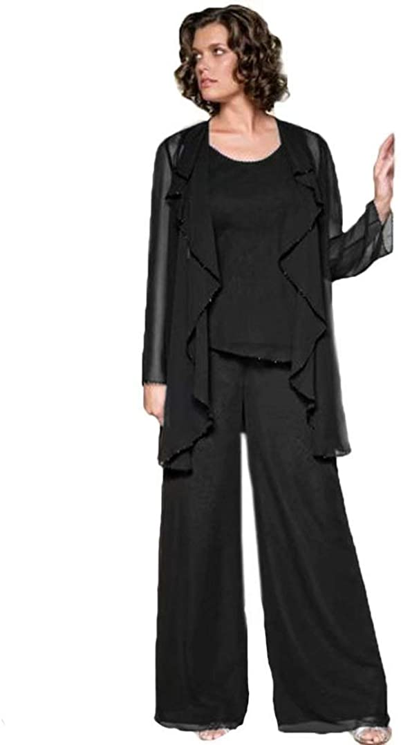 HYC Chiffon Mother of The Bride Pant Suits Long Sleeve Plus Size Mother Pant Suits