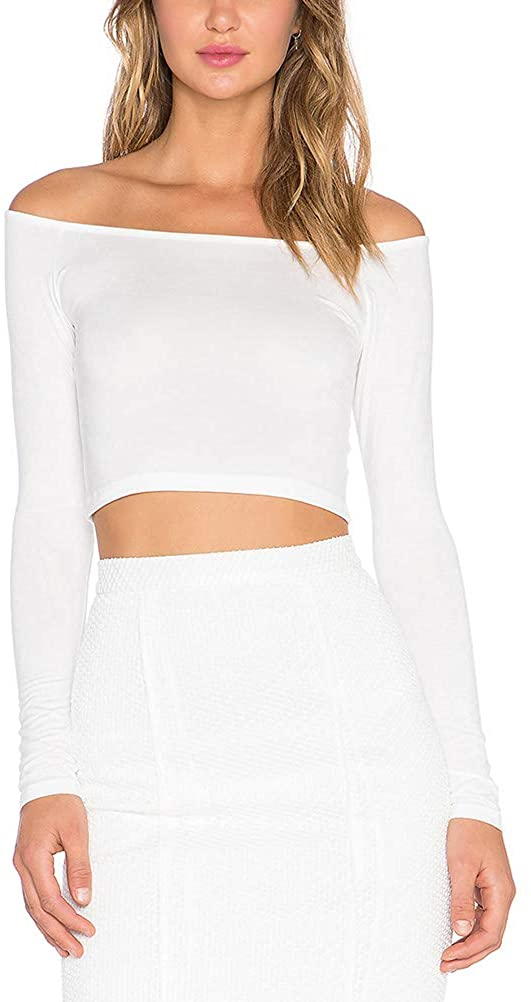 Mippo Women's Off The Shoulder Tops Long Sleeve Slim Fitted Sexy Crop Top Shirts