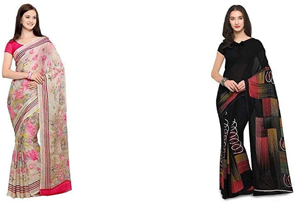 Indian Decor & Attire Women's Saree with Blouse Piece(Pack of 2)(CC1018&PC1005_Item 1 Color Beige Item 2 Color Black_One Size)