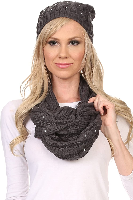 Sakkas Kae Jewel Studded Cable Knit Beanie Hat And Scarf Set