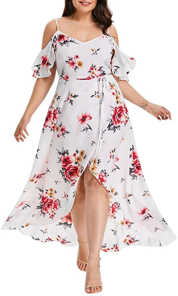 Kaitobe Women's Dresses Plus Size Casual Summer Loose Floral Print Short Sleeve Maxi Dresses Long Beach Sundress