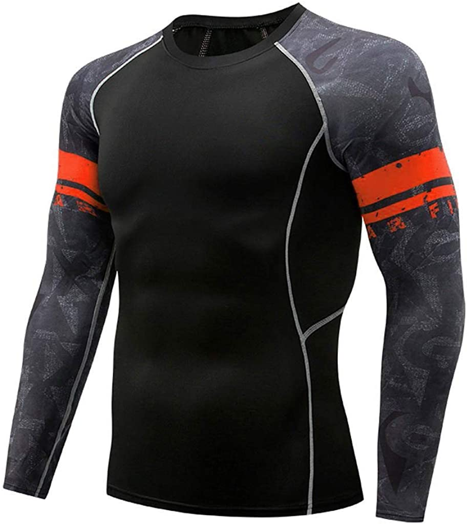 Snowmolle New Men's Soft Slim Long Sleeve Dry-Fit Compression Gym Trainning Shirt O Neck Stripe Pattern Tops