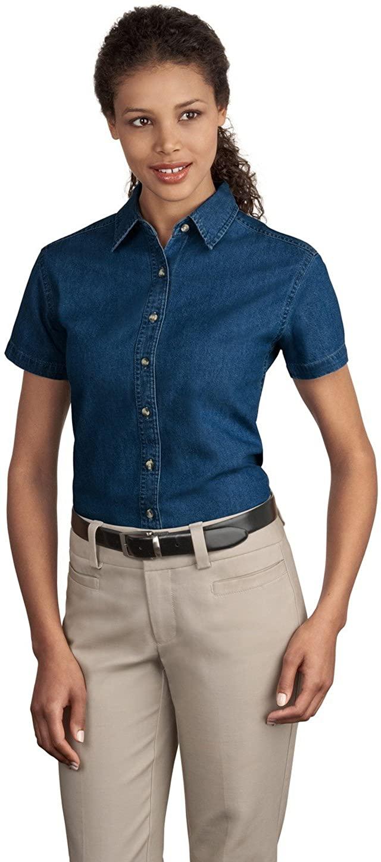 Port & Company LSP11 Ladies S-Sleeve Value Denim Shirt