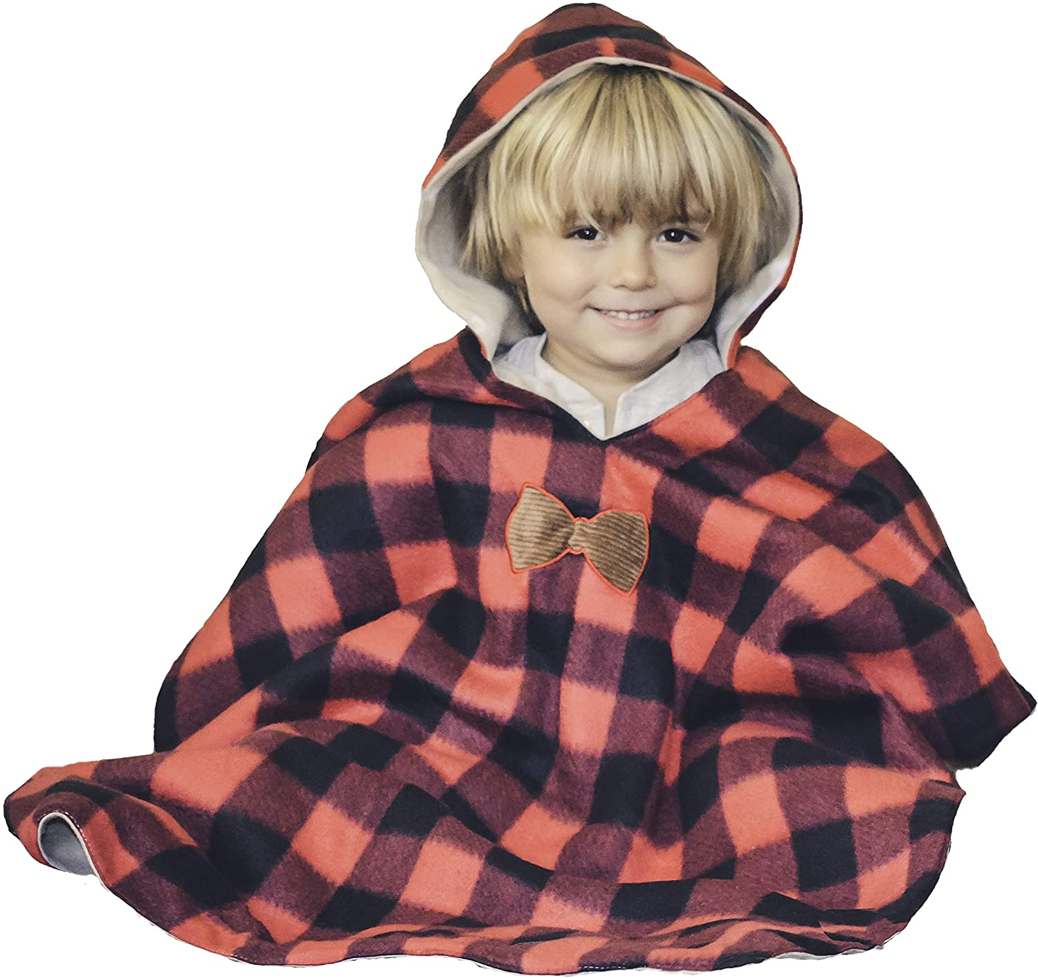 Birdy Boutique Kids Car Seat Poncho Lumberjack Deer Reversible Warm Blanket Safe Use Over Seat Belts Buffalo Plaid