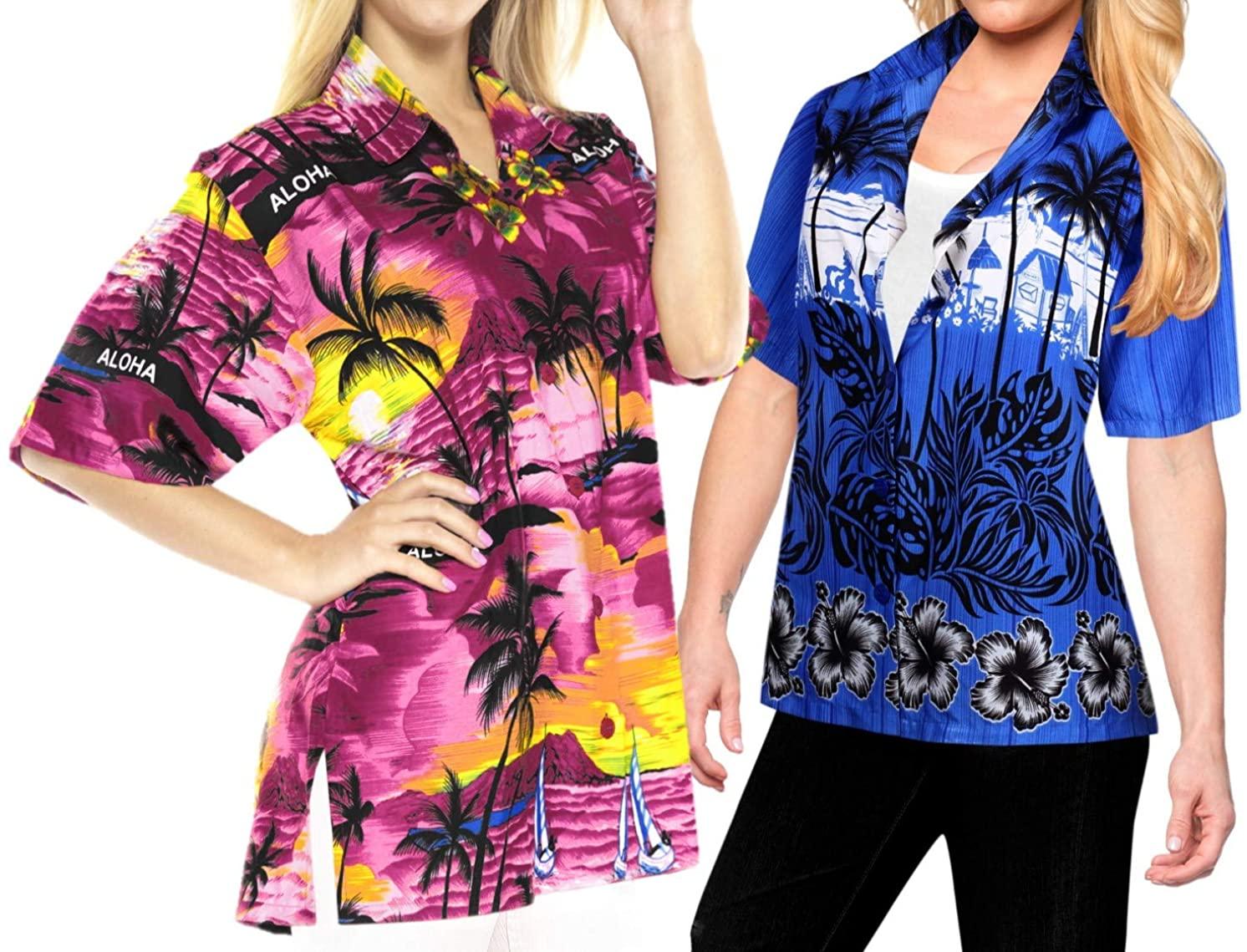 LA LEELA Women's Plus Size Casual Short Sleeve Aloha Hawaiian Shirt XL Work from Home Clothes Women Blouse Pack of 2