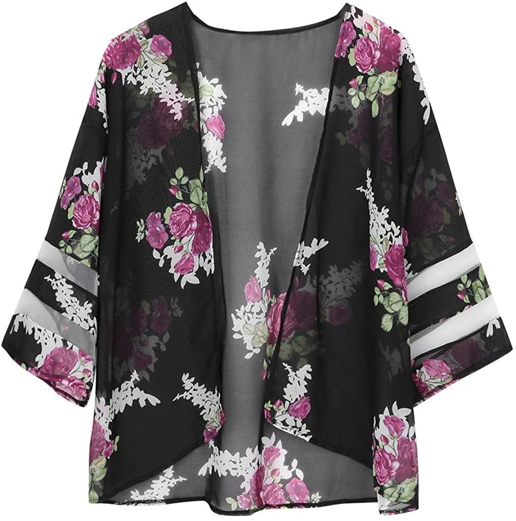 LEKODE Women Tee Cardigan Blouse Floral Printed Fashion Tops