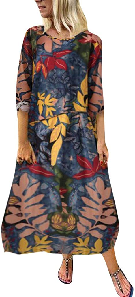 nightfall Women's Summer Loose Plus Size Floral Printed Beach Dresses 3/4 Sleeve