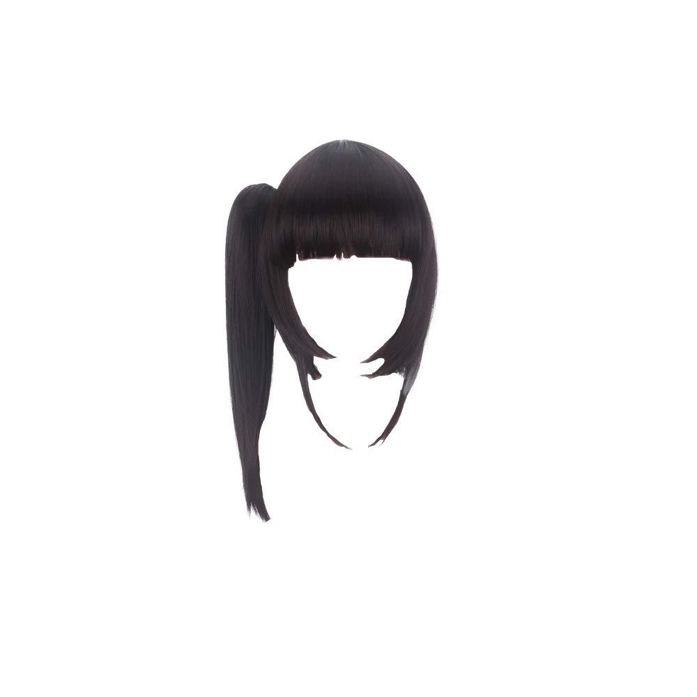 Meelanz Tsuyuri Kanao Cosplay Wig Demon Slayer Kimetsu no Yaiba Japanese Anime Black Brown Short Synthetic Women Hair Accessories with Free Wig Cap (Black3)