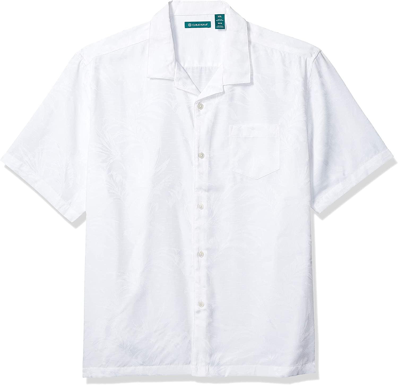 Cubavera Short Sleeve Floral Leaf Print Two Tone Shirt