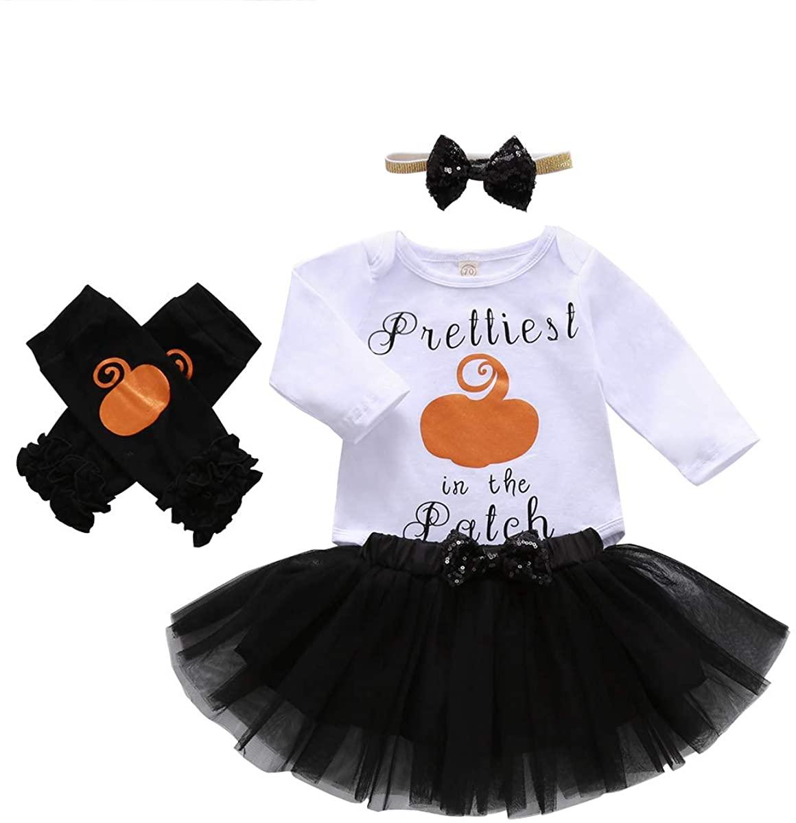 4PCS Infant Baby Girl My 1st Halloween Outfits Long Sleeve Pumpkin Romper+Tutu Skirt+Headbands