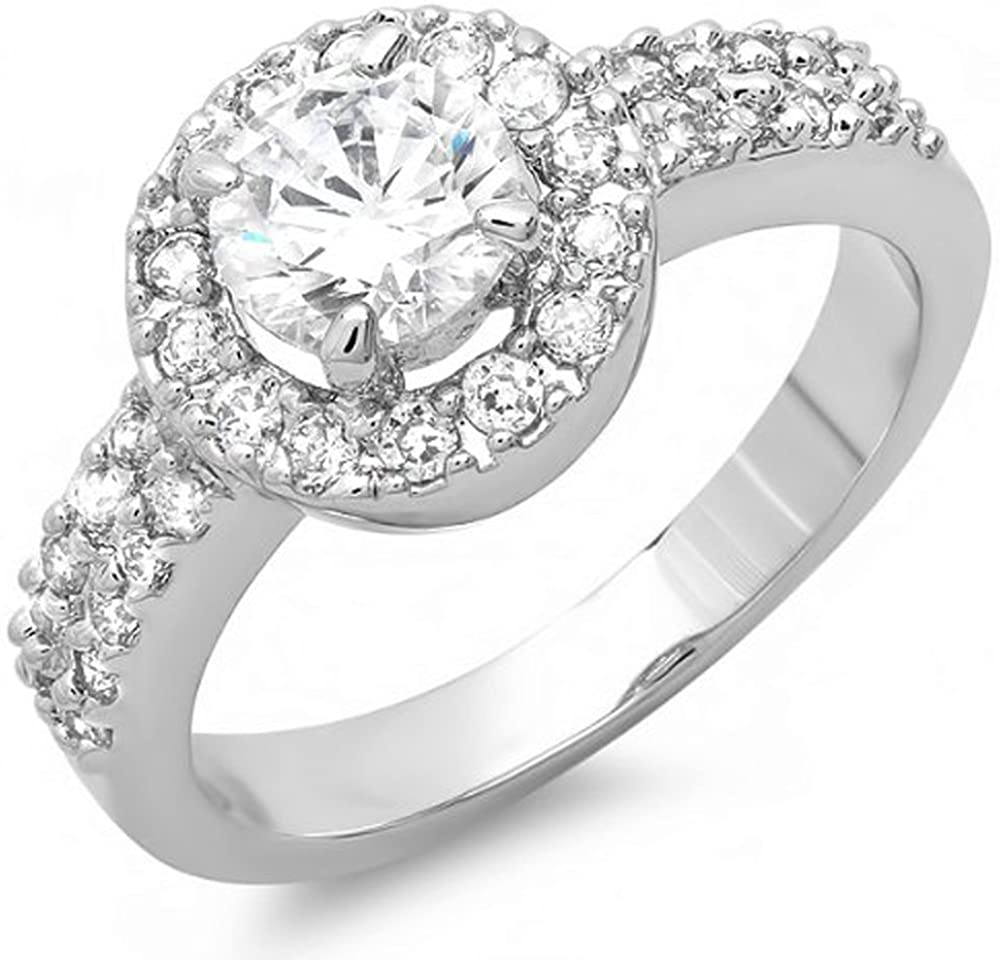 1.50 CT Ladies Round Cubic Zirconia CZ Engagement Halo Ring (Available in Size 6, 7, 8)