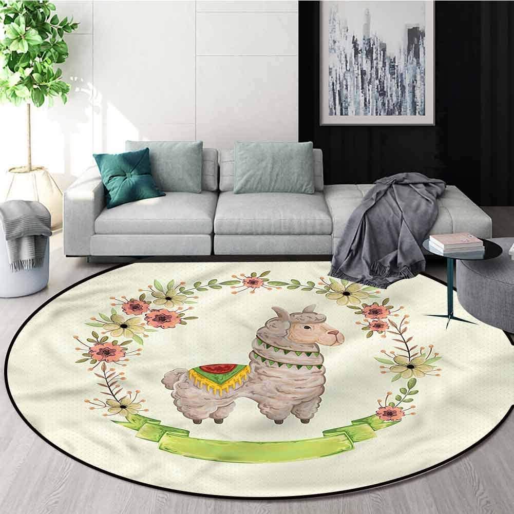 RUGSMAT Llama Round Area Rug Reversible Floor Carpet,Colorful Watercolor Flora Pattern Floor Seat Pad Home Decorative Indoor Diameter-55