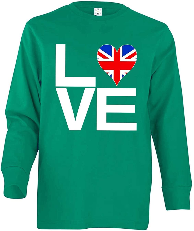 Tenacitee Boy's Youth Love Block United Kingdom Heart Long Sleeve