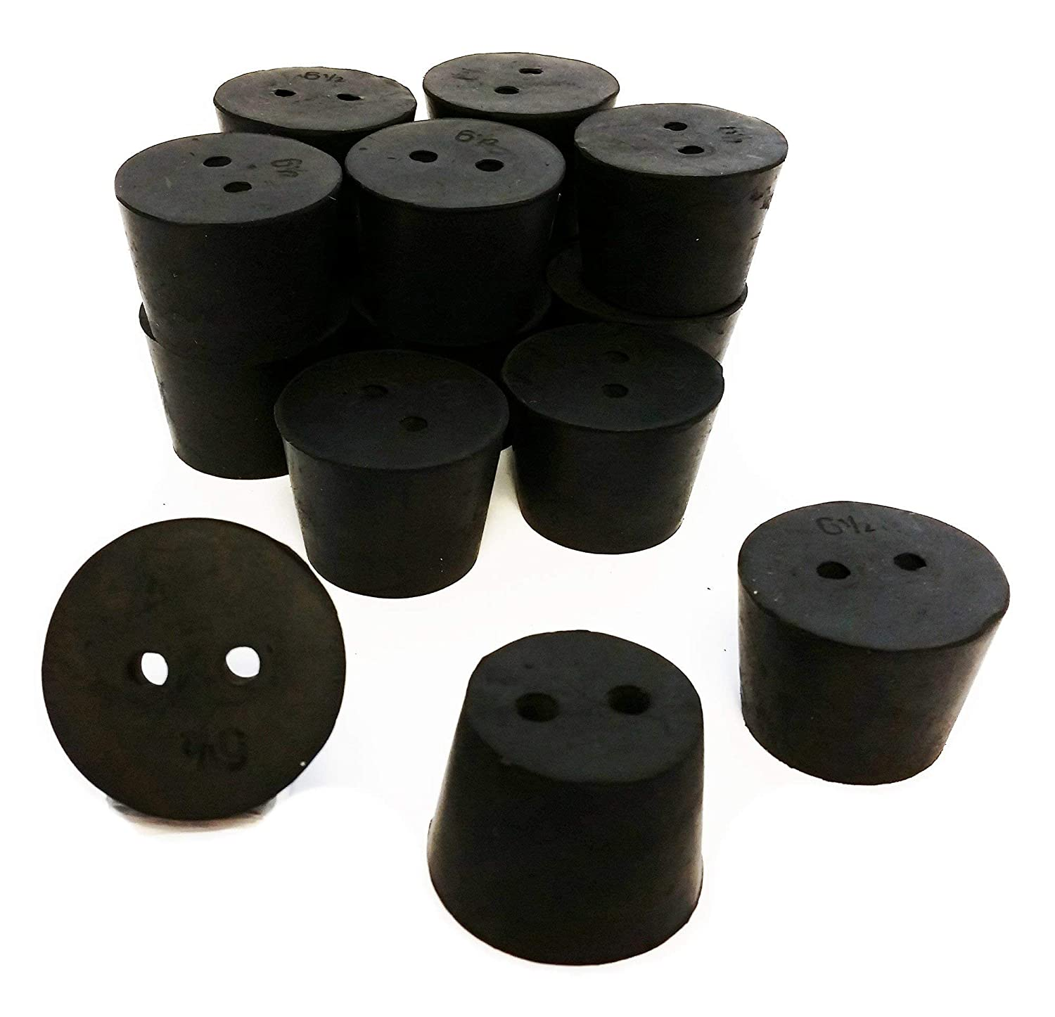 GSC International RS-6.5-2 Rubber Stoppers, Size 6.5, Drilled 2-Holes (1-Pound Pack)