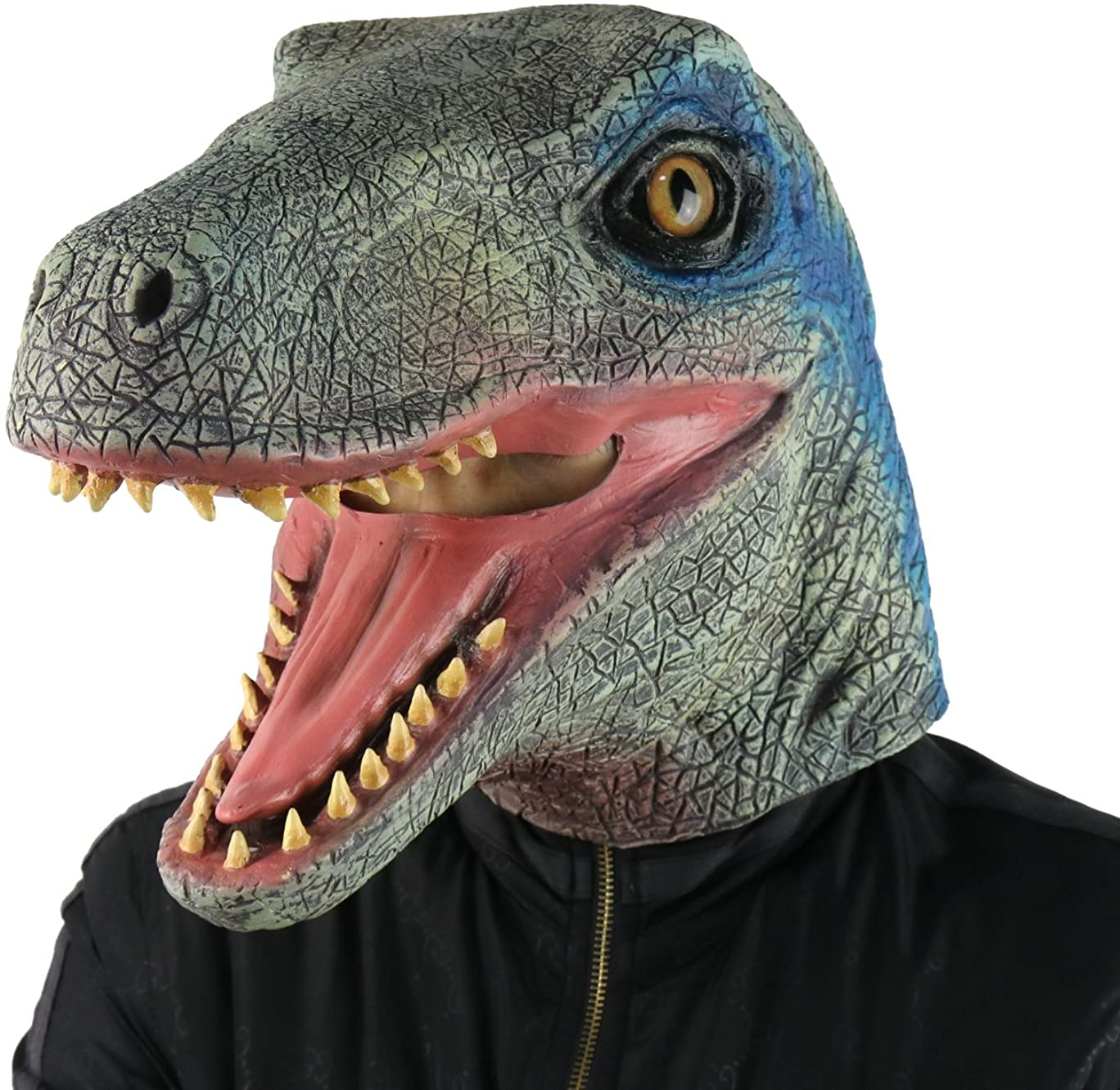 FantasyParty Halloween Mask Costume Party Latex Jurassic Dinosaur Head Mask Velociraptor