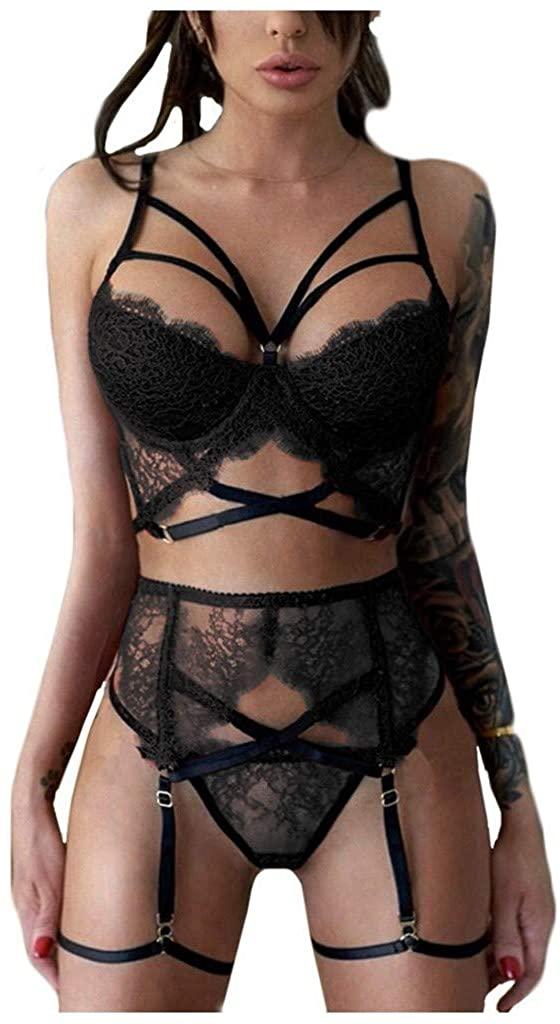 OTTATAT 2020 Women Deep V Sexy Halter Lingerie Straps Bra Panty Garter Set Underwear One Piece Bodysuit Lace Babydoll