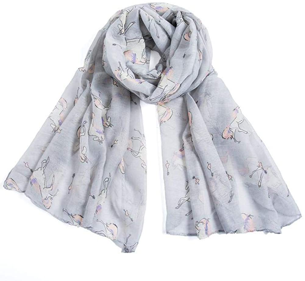 Unicorn Horse Print Scarf Lightweight Large Soft Shawl Wraps Infinity Scarf For Women(Grey)