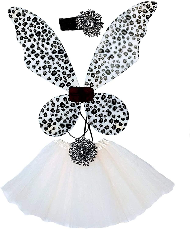 Enchantly Fairy Costume - Fairy Wings for Girls - Butterfly Costume for Girls - Cheetah Wings, Tutu, and Headband White