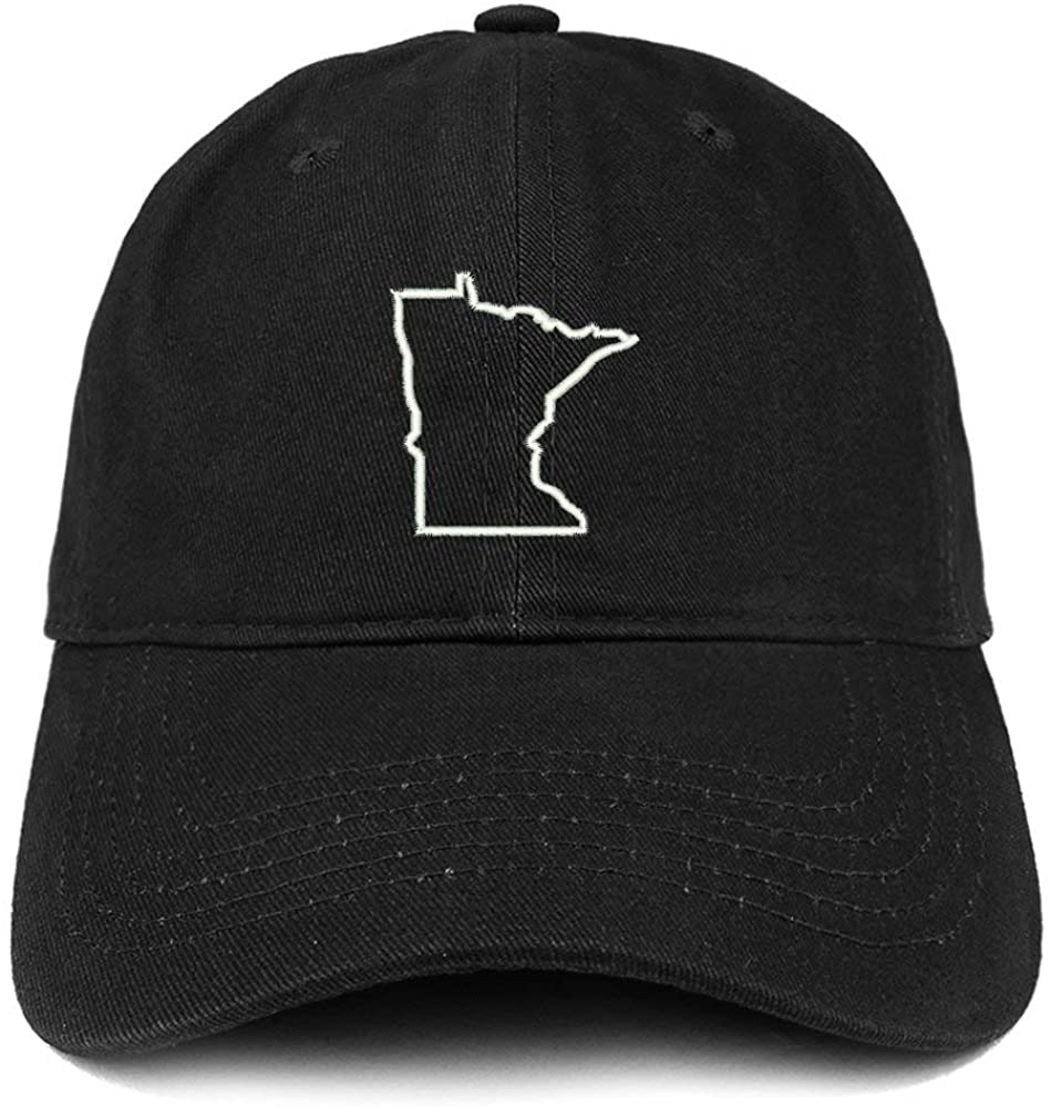 TOP LEVEL APPAREL Minnesota State Outline Embroidered Soft Cotton Dad Hat