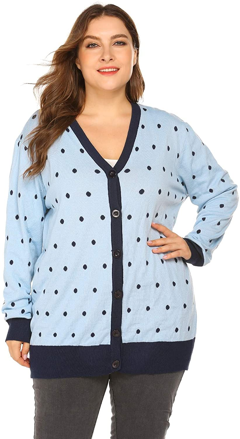 IN'VOLAND Women's Plus Size Open Front Cardigan Sweater Polka Dot Cardigan Ligtweight Button Up Casual Knit Cardigan