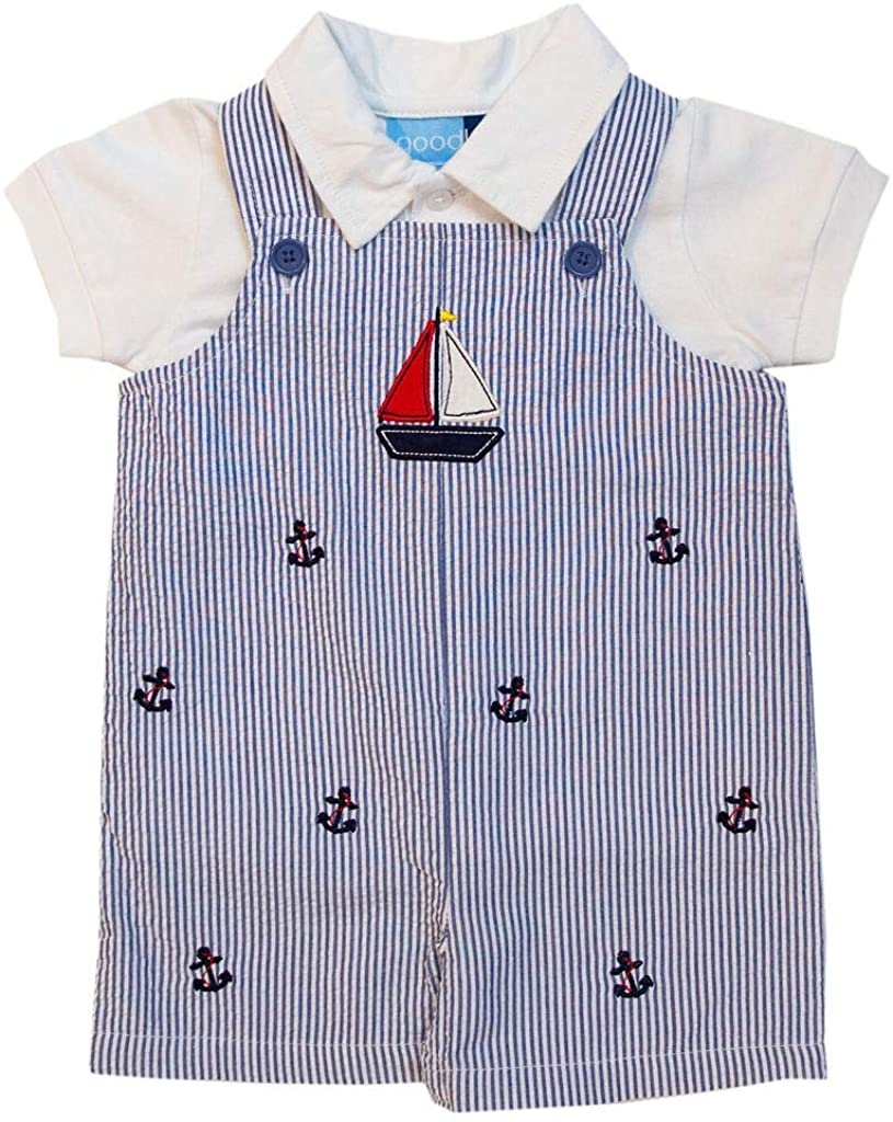 Good Lad Newborn/Infant Boy Blue Seersucker Shortall Set with Sailboat Applique and Anchor Embroideries