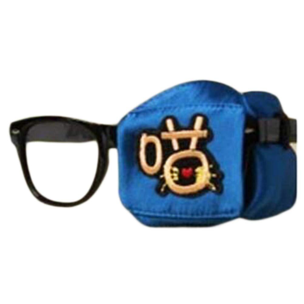 Child Silk Glasses Eye Mask Amblyopia Strabismus Lazy Eye Patches-Deep Blue #08